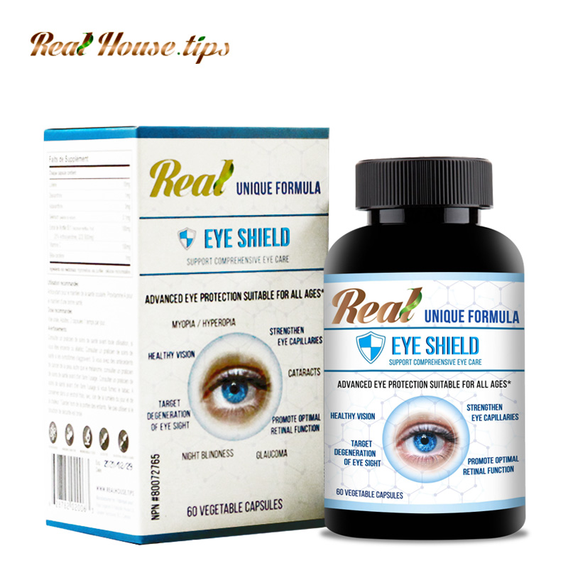 A bottle of Eye Shield: Eye Protection Formula from Real House.