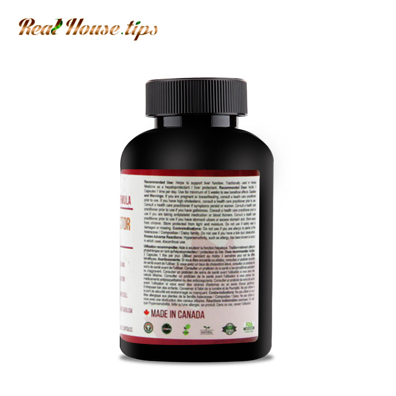 A bottle of Fatty Liver Protector Capsules from Real House.