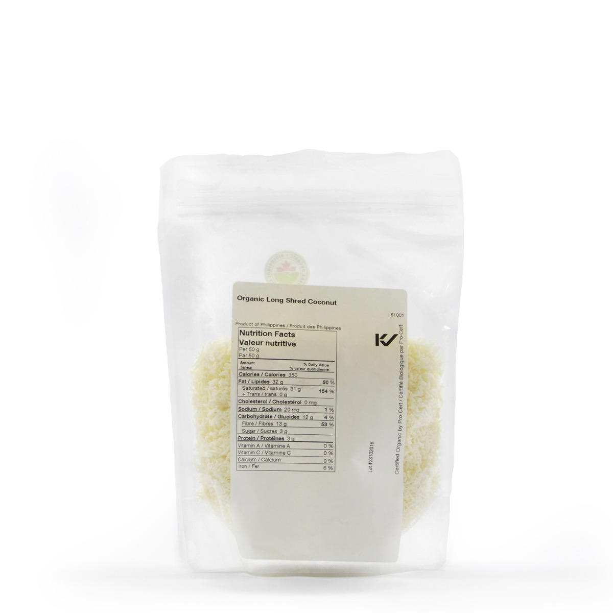 Nutritional Information About Real • Organic Long Shred Coconut