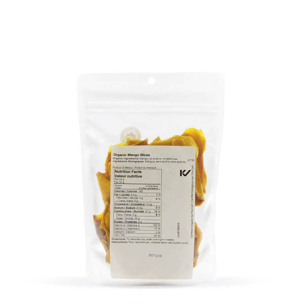 Nutritional Information About Real • Organic Mango Slices