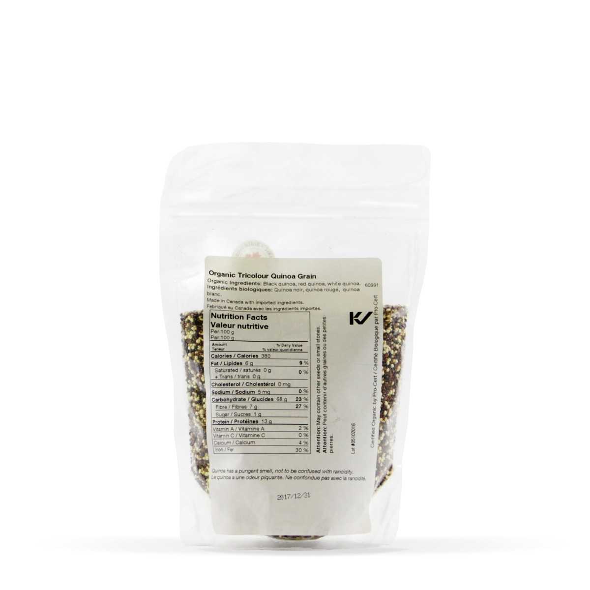 Nutritional Information About Real • Organic Tricolour Quinoa Grain
